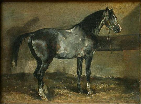 Théodore Géricault. Gray horse on a farm