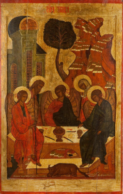 Icon Painting. Icon of the festive rite of the Old Testament Trinity