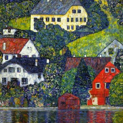 Густав Климт. Дома в Унтерах на озере Аттерзее