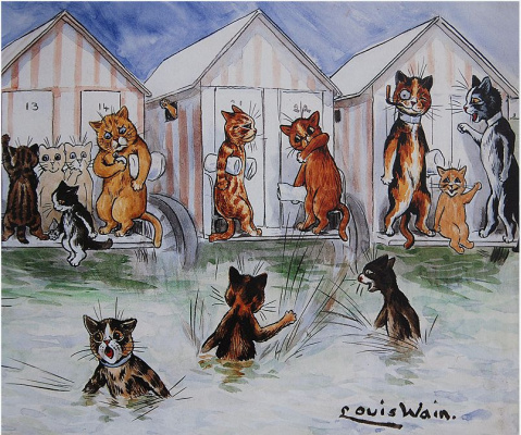 Louis Wain. Cat bath