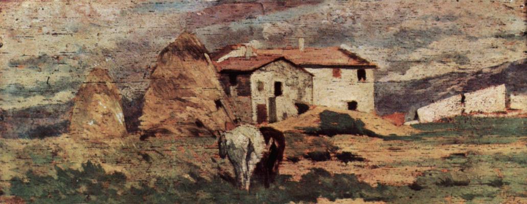 Giovanni Fattori. Landscape with peasant house