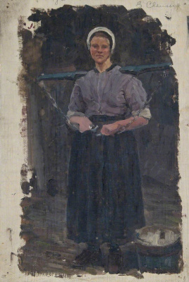Джордж Клаузен. Эскиз женщины с коромыслом (Папендрехт)