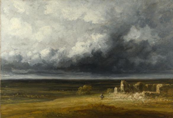 Жорж Мишель. Бурный пейзаж с руинами на равнине