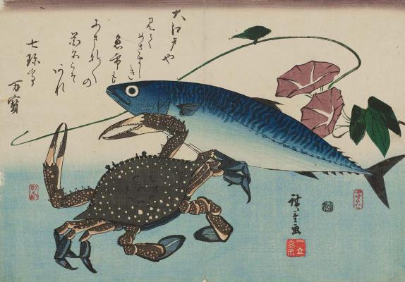 """Utagawa Hiroshige. Mackerel, crab and morning glory. A Series Of """"Fish"""""""