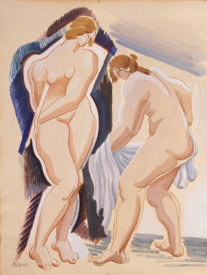 Alexander Arkhipenko. Two Nude female figures with a blanket