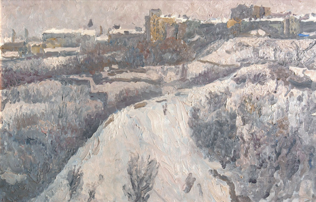 """Tetyana Yablonska. Study for the painting """"Winter in ancient Kiev"""""""