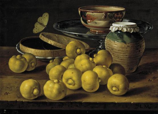 Луис Мелендес. Натюрморт с лаймами, желе, бабочкой и посудой