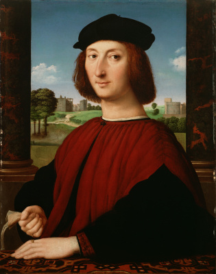Raphael Santi. Portrait of a young man in red