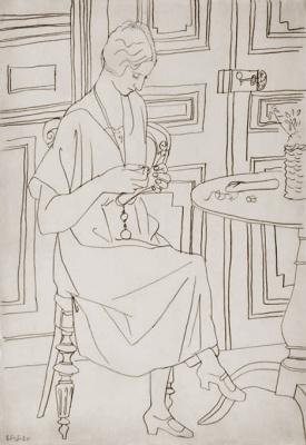 Пабло Пикассо. Ольга с шитьем