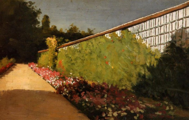 Gustave Caillebotte. Wall in the garden. Hierro.