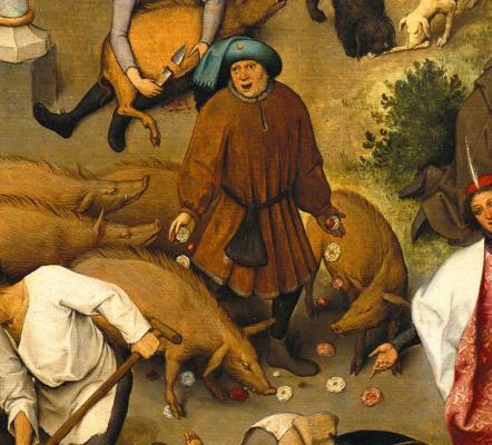 Pieter Bruegel The Elder. Flemish proverbs. Fragment: Throwing roses in front of pigs - waste valuable on unworthy