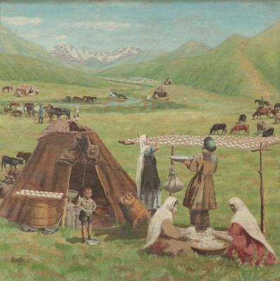 Abylkhan Kasteevich Kasteev. Kolkhoz Dairy Farm
