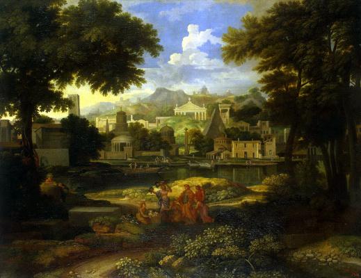 Этьен Аллегрен. Пейзаж с Моисеем, спасенным из воды