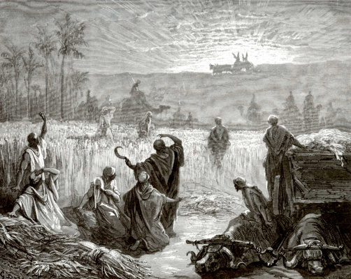 Paul Gustave Dore. Bible illustration: the return of the ark of the Lord