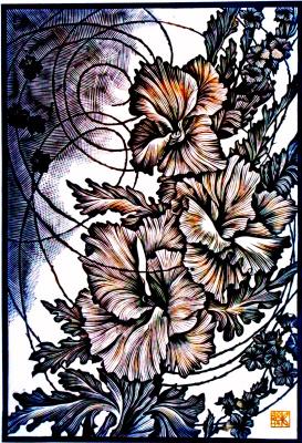 "Vladimir Kataev. ""Weeds of the gate - 1"", 2014, linocut, 63 X 44 cm, 80 X 60 cm"