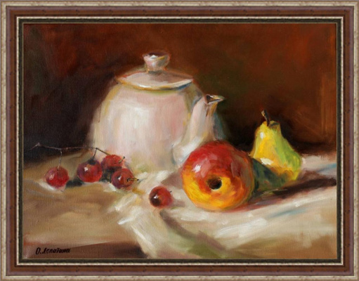 Olesya Alexandrovna Lopatin. Still life with kettle and fruit