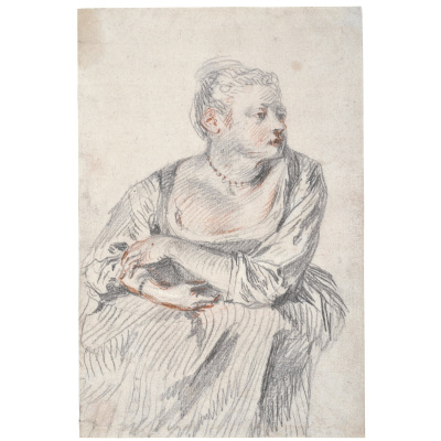 Antoine Watteau. A SEATED WOMAN, WEARING A PEARL NECKLACE