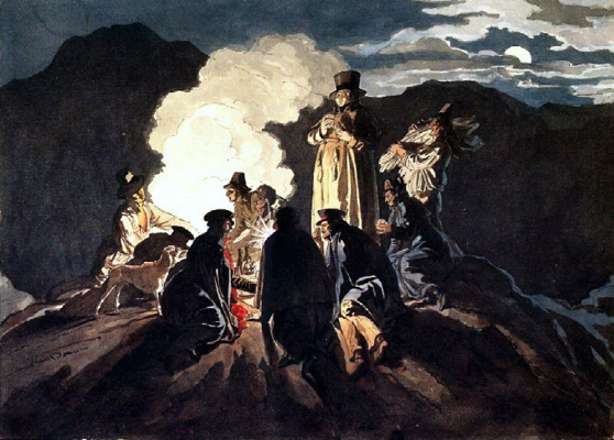 Karl Pavlovich Bryullov. Bivouac on the crater of mount Vesuvius
