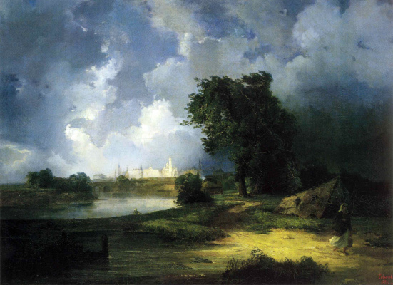 Alexey The Kondratyevich Savrasov. View of the Kremlin from the Krymsky bridge in inclement weather
