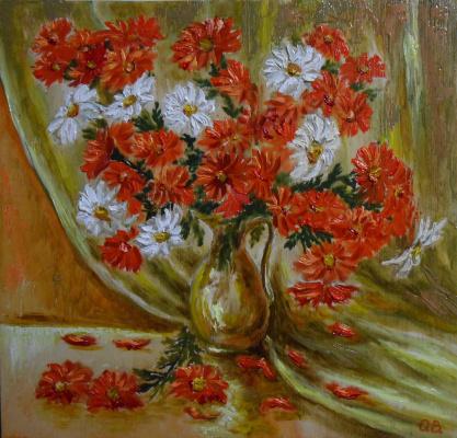 Владимир Иванович Осипов. The red-and-white daisies, 40-40, D. M.,© ,G. 01.18