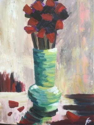 Larisa Benko. Bouquet in red colors
