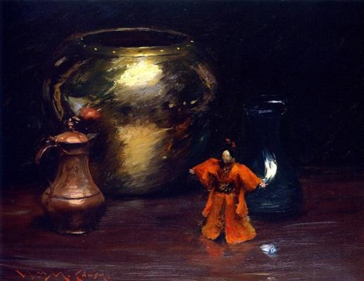 Уильям Меррит Чейз. Натюрморт с медной и латунной посудой