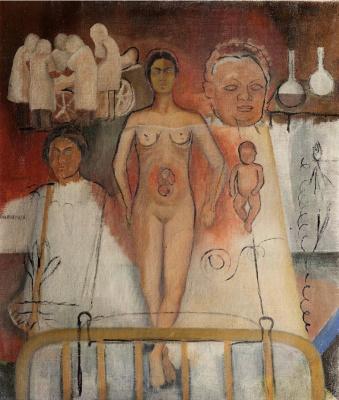Frida Kahlo. Frida and the cesarean section (work in progress)