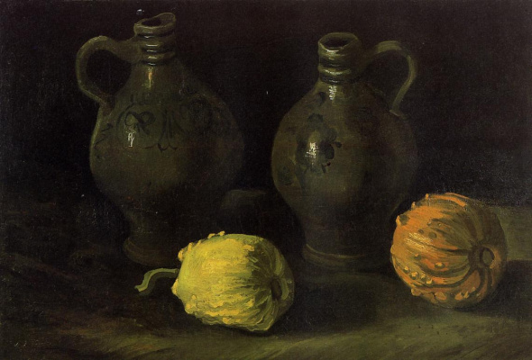 Vincent van Gogh. Still life with two jars and two pumpkins