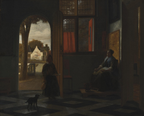 Pieter de Hooch. Woman sitting by the window, and the girl