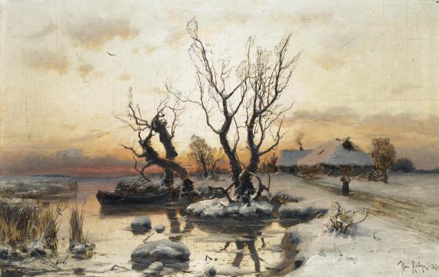 Julius Klever. Winter sunset