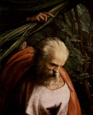 Антонио Корреджо. Отдых на пути в Египет, со св. Франциском, деталь: св. Иосиф