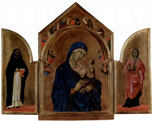Duccio di Buoninsegna. London triptych, the Central part of Madonna an angel and prophets in the tympanum, left wing: St. Dominic