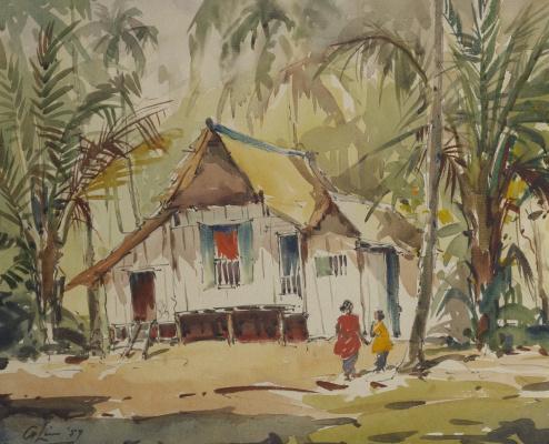 Без названия (Деревенский дом с двумя фигурами)