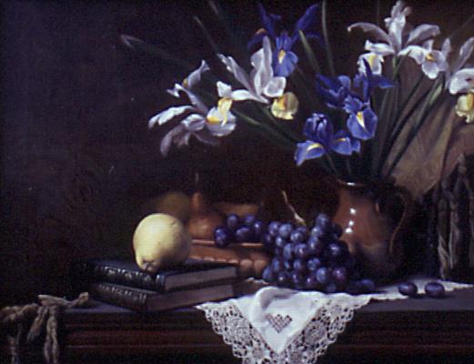 Морин Хайд. Натюрморт с ирисами и виноградом