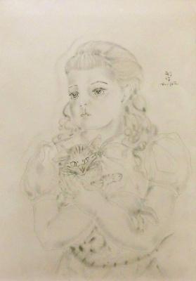 Цугухару Фудзита (Леонар Фужита). Кот и девочка