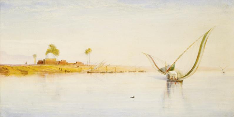 Эдвард Лир. Sailing boats on the Nile