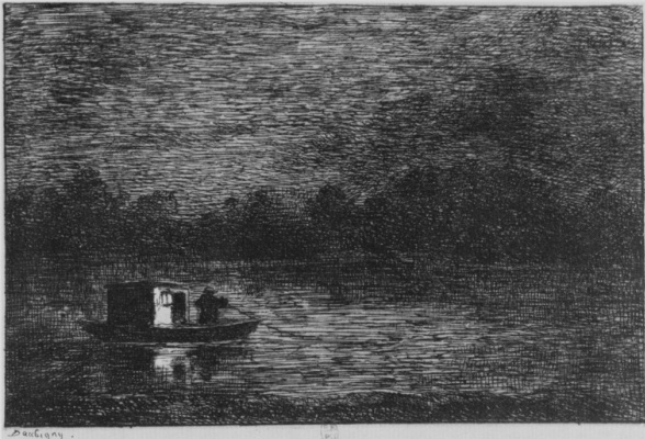 Charles-Francois Daubigny. Series Album journey in the boat, the Night journey, or Fishing nets, the second state