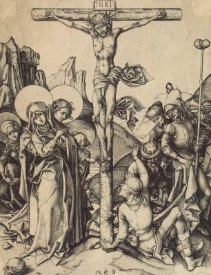 Martin Schongauer. The crucifixion with soldiers sharing Christ's clothes
