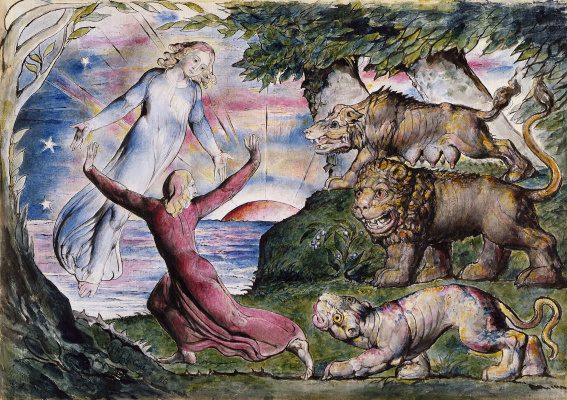"William Blake. Dante running from three beasts. Illustrations for ""The Divine Comedy"""