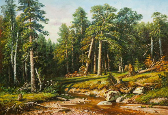 "Savely Kamsky. A copy of Ivan Shishkin s painting ""Pine Forest. Mastwood in Vyatka Province »"
