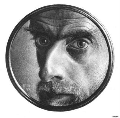 Maurits Cornelis Escher. Self portrait in the mirror