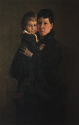 Nikolai Nikolaevich Ge. Portrait of Sofia Andreyevna Tolstoy, wife of writer, with her daughter Alexandra