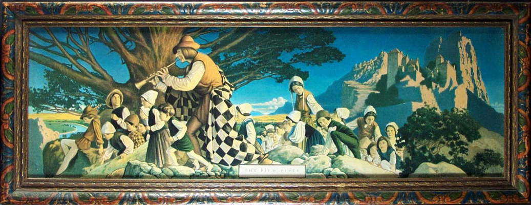 Maxfield Parrish. Pied Piper. Image of Murals Palace Hotel in San Francisco