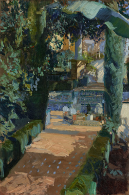 Joaquín Sorolla. Area in the garden, the Alcazar in Seville