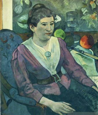 Поль Гоген. Портрет женщины рядом с натюрмортом Сезанна