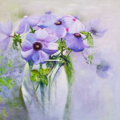 (no name). Lilac anemones. Spring bouquet