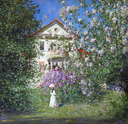 Alexander Victorovich Shevelyov. Spring at the HOMESTEAD.Oil on canvas 58,5 # 60 cm, 2009