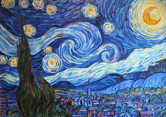 Alisa Denoizz. Starlight Night. Free copy of Vincent van Gogh