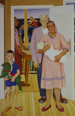 """Dmitry Dmitrievich Zhilinsky. """"In the new house."""" The right part of the triptych """"new lands"""". 1967 Total size 150х350"""