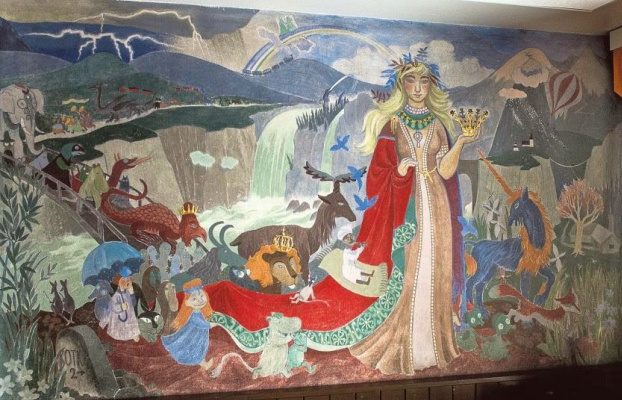 Tove Jansson. Fairy tale characters. Mural in kindergarten in Kotka, Finland
